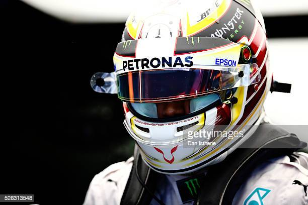 Lewis Hamilton of Great Britain and Mercedes GP in the garage during final practice ahead of the Formula One Grand Prix of Russia at Sochi Autodrom...