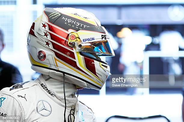 Lewis Hamilton of Great Britain and Mercedes GP in the garage during qualifying for the European Formula One Grand Prix at Baku City Circuit on June...