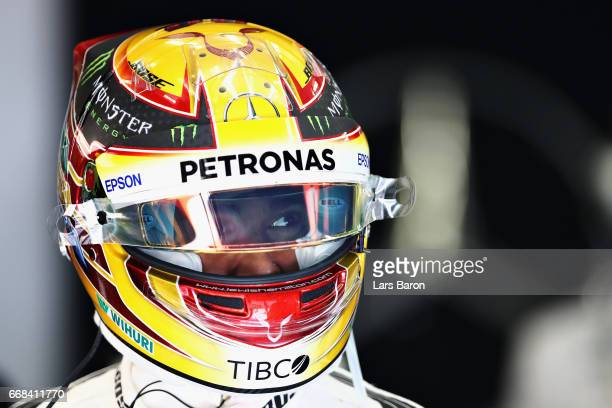 Lewis Hamilton of Great Britain and Mercedes GP in the garage during practice for the Bahrain Formula One Grand Prix at Bahrain International Circuit...