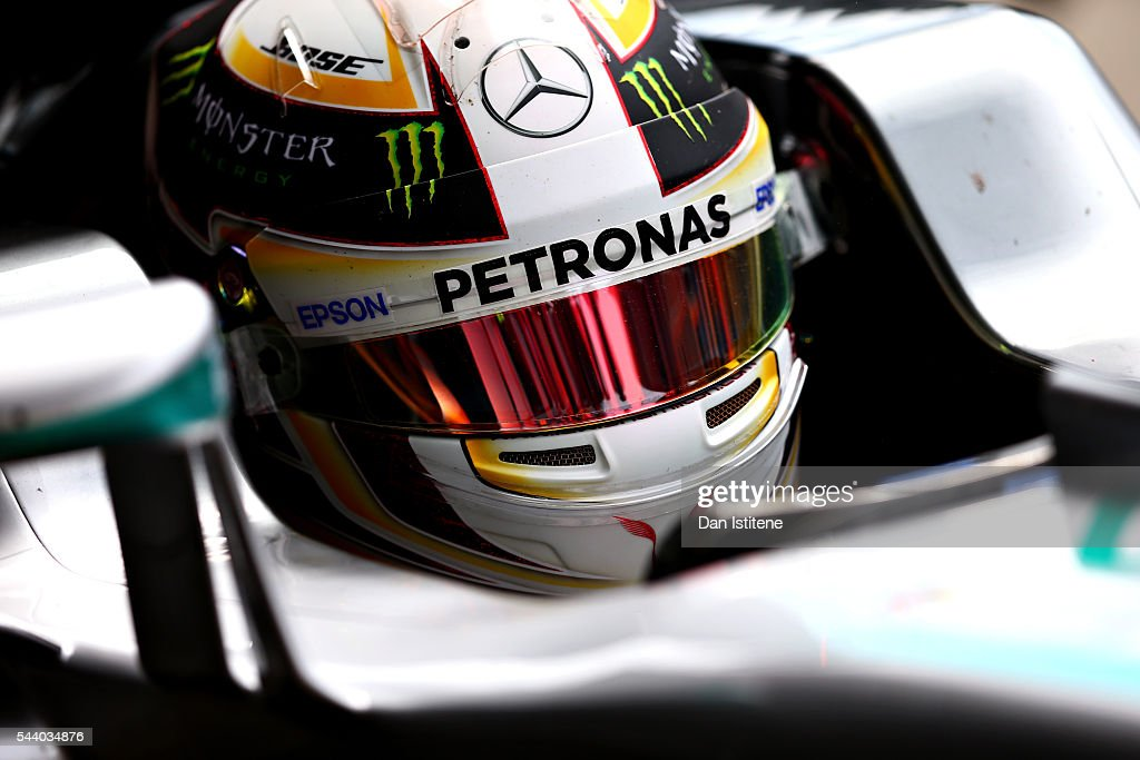 <a gi-track='captionPersonalityLinkClicked' href=/galleries/search?phrase=Lewis+Hamilton+-+Racecar+Driver&family=editorial&specificpeople=586983 ng-click='$event.stopPropagation()'>Lewis Hamilton</a> of Great Britain and Mercedes GP in the Pitlane during practice for the Formula One Grand Prix of Austria at Red Bull Ring on July 1, 2016 in Spielberg, Austria.