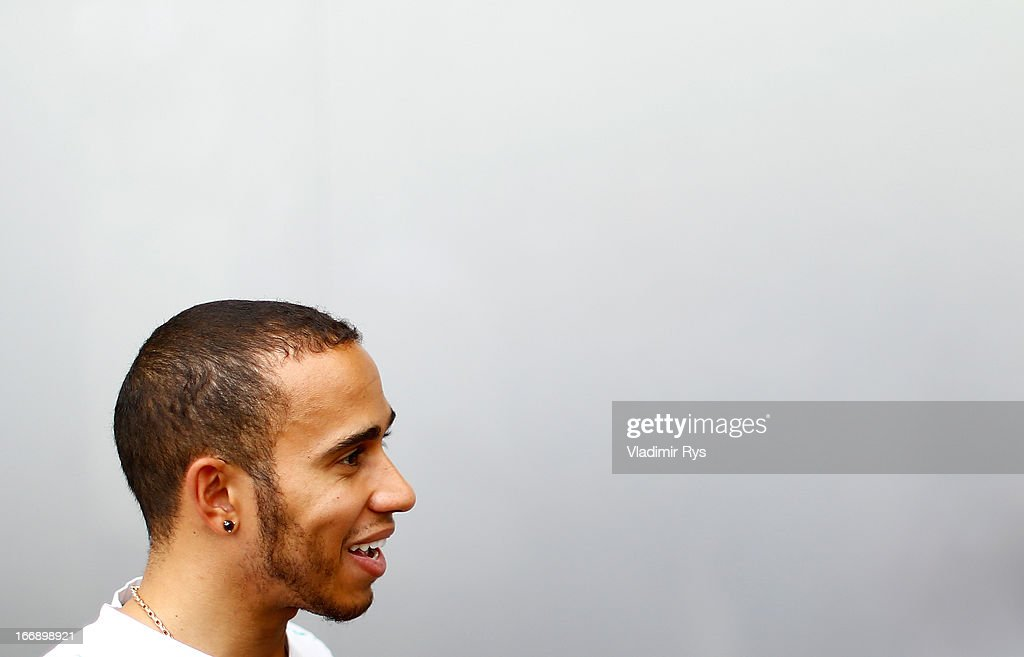 <a gi-track='captionPersonalityLinkClicked' href=/galleries/search?phrase=Lewis+Hamilton+-+Racecar+Driver&family=editorial&specificpeople=586983 ng-click='$event.stopPropagation()'>Lewis Hamilton</a> of Great Britain and Mercedes GP is pictured during previews for the Bahrain Formula One Grand Prix at the Bahrain International Circuit on April 18, 2013 in Sakhir, Bahrain.