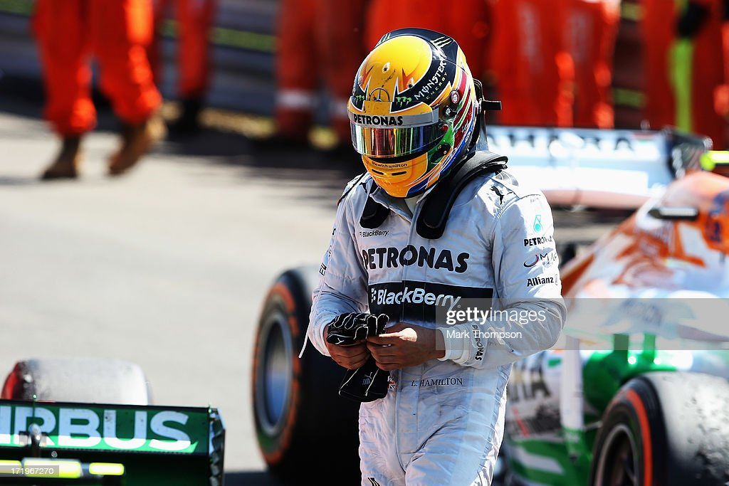 Lewis Hamilton of Great Britain and Mercedes GP is seen at the end of the British Formula One Grand Prix at Silverstone Circuit on June 30, 2013 in Northampton, England.