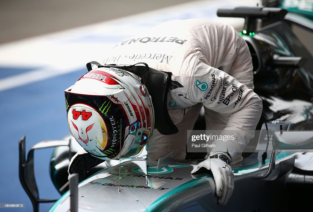 Lewis Hamilton of Great Britain and Mercedes GP kisses the car as he celebrates winning the Formula One Grand Prix of Belgium at Circuit de...
