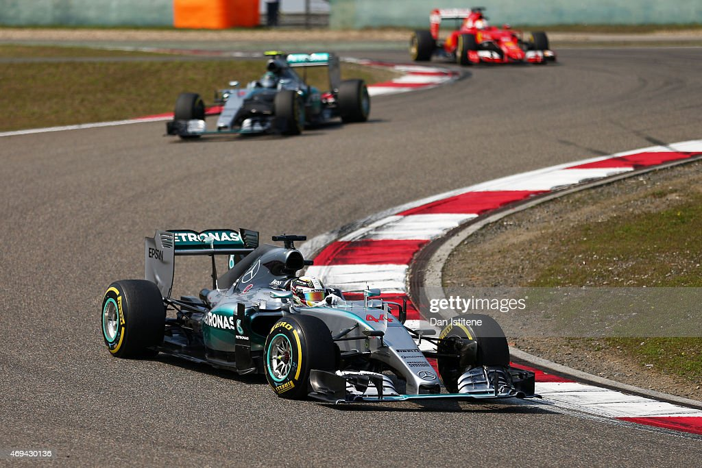 Lewis Hamilton of Great Britain and Mercedes GP leads during the Formula One Grand Prix of China at Shanghai International Circuit on April 12 2015...