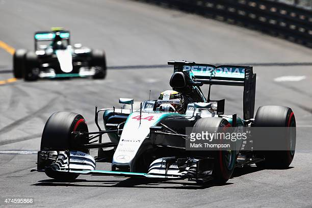 Lewis Hamilton of Great Britain and Mercedes GP leads from team mate Nico Rosberg of Germany and Mercedes GP during the Monaco Formula One Grand Prix...