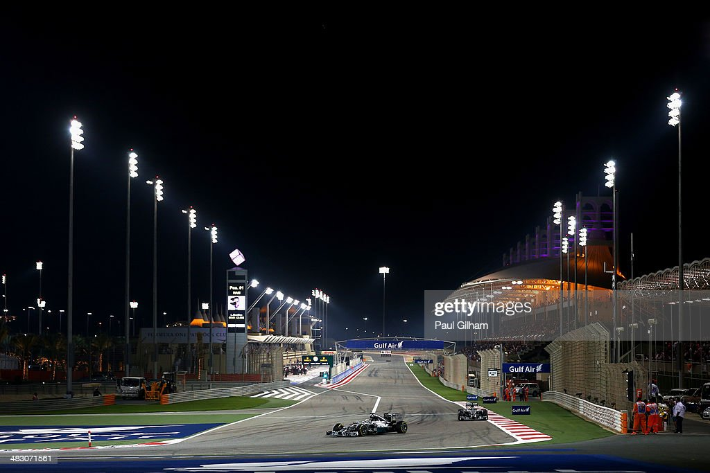 Lewis Hamilton of Great Britain and Mercedes GP leads from team mate Nico Rosberg of Germany and Mercedes GP during the Bahrain Formula One Grand Prix at the Bahrain International Circuit on April 6, 2014 in Sakhir, Bahrain.