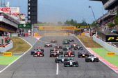 Lewis Hamilton of Great Britain and Mercedes GP leads the field into turn one during the Spanish Formula One Grand Prix at Circuit de Catalunya on...