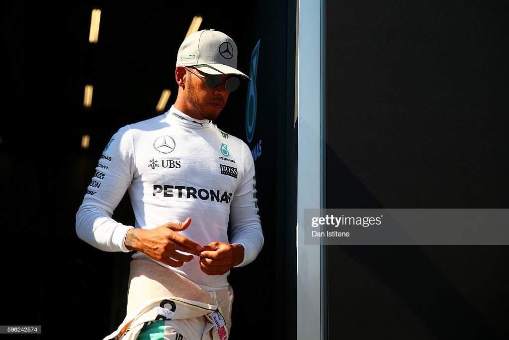 Lewis Hamilton of Great Britain and Mercedes GP leaves the garage after final practice for the Formula One Grand Prix of Belgium at Circuit de...