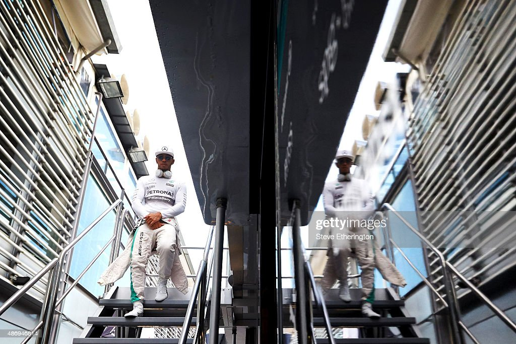 Lewis Hamilton of Great Britain and Mercedes GP leaves the team motorhome before qualifying for the Formula One Grand Prix of Italy at Autodromo di Monza on September 5, 2015 in Monza, Italy.