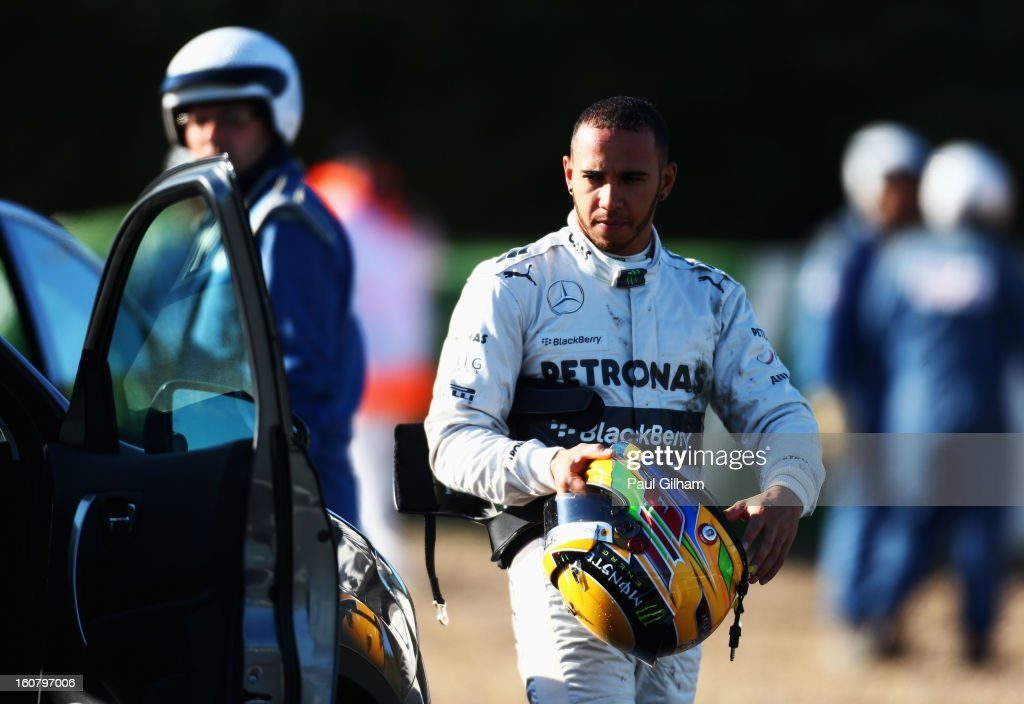 <a gi-track='captionPersonalityLinkClicked' href=/galleries/search?phrase=Lewis+Hamilton+-+Racecar+Driver&family=editorial&specificpeople=586983 ng-click='$event.stopPropagation()'>Lewis Hamilton</a> of Great Britain and Mercedes GP looks on after crashing into the gravel at turn six during Formula One winter testing at Circuito de Jerez on February 6, 2013 in Jerez de la Frontera, Spain.