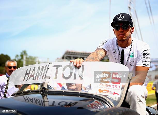 Lewis Hamilton of Great Britain and Mercedes GP looks on during the drivers' parade before the Spanish Formula One Grand Prix at Circuit de Catalunya...