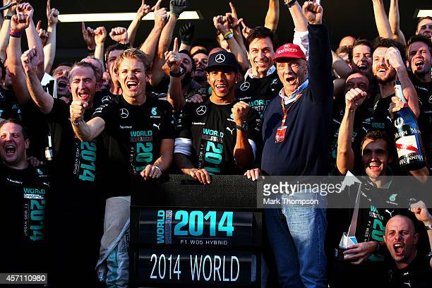 Lewis Hamilton of Great Britain and Mercedes GP Nico Rosberg of Germany and Mercedes GP Mercedes GP Executive Director Toto Wolff and Niki Lauda...