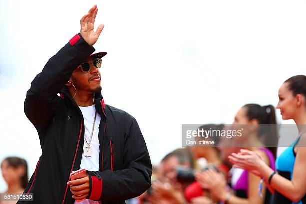 Lewis Hamilton of Great Britain and Mercedes GP on the drivers parade ahead of the Spanish Formula One Grand Prix at Circuit de Catalunya on May 15...