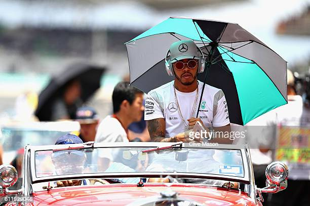 Lewis Hamilton of Great Britain and Mercedes GP on the drivers parade before the Malaysia Formula One Grand Prix at Sepang Circuit on October 2 2016...