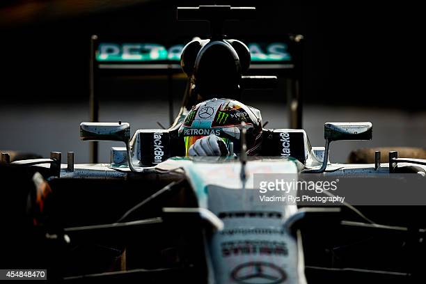 Lewis Hamilton of Great Britain and Mercedes GP Petronas drives in after winning the Italian Formula One Grand Prix at Autodromo di Monza on...
