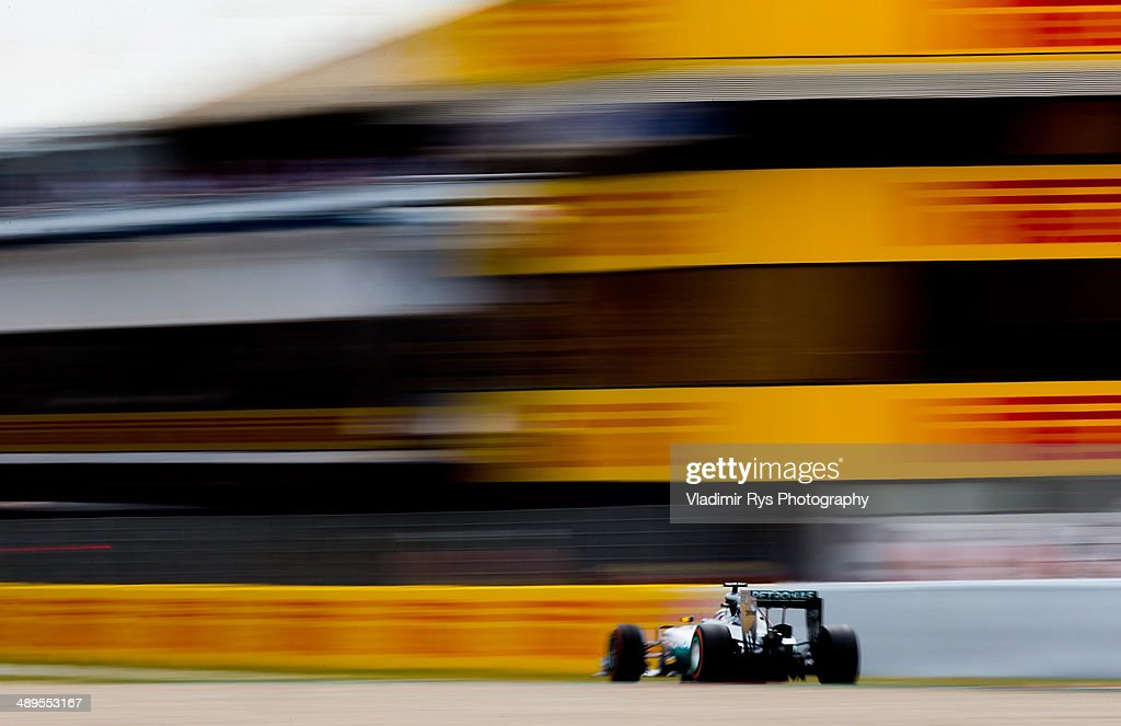 Lewis Hamilton of Great Britain and Mercedes GP Petronas drives during the Spanish Formula One Grand Prix at Circuit de Catalunya on May 11, 2014 in Montmelo, Spain.