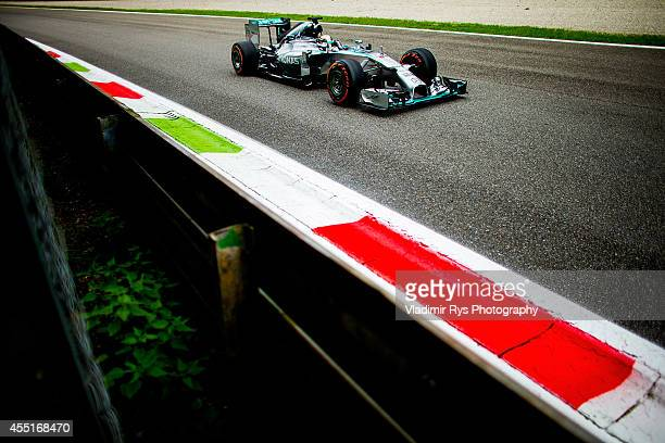 Lewis Hamilton of Great Britain and Mercedes GP Petronas drives during practice to the Italian Formula One Grand Prix at Autodromo di Monza on...