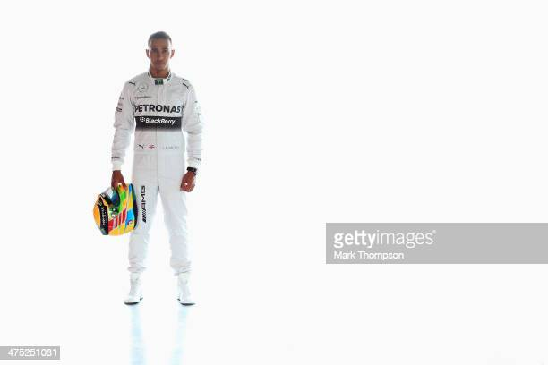 Lewis Hamilton of Great Britain and Mercedes GP poses for a photograph during day one of Formula One Winter Testing at the Bahrain International...