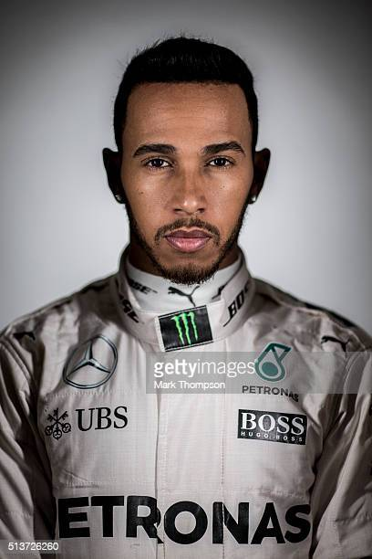 Lewis Hamilton of Great Britain and Mercedes GP poses for a portrait during day three of F1 winter testing at Circuit de Catalunya on March 3 2016 in...