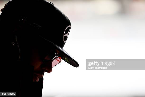 Lewis Hamilton of Great Britain and Mercedes GP prepares for the drivers parade ahead of the Formula One Grand Prix of Russia at Sochi Autodrom on...