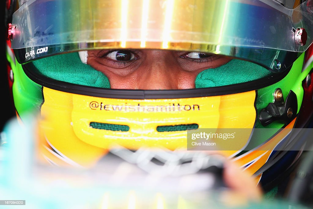 <a gi-track='captionPersonalityLinkClicked' href=/galleries/search?phrase=Lewis+Hamilton&family=editorial&specificpeople=586983 ng-click='$event.stopPropagation()'>Lewis Hamilton</a> of Great Britain and Mercedes GP prepares to drive during the final practice session prior to qualifying for the Bahrain Formula One Grand Prix at the Bahrain International Circuit on April 20, 2013 in Sakhir, Bahrain.