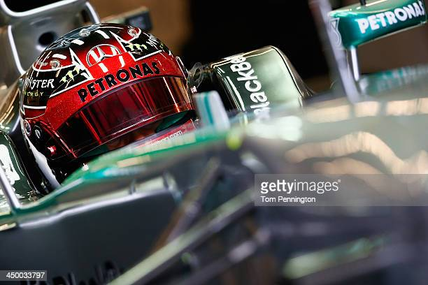 Lewis Hamilton of Great Britain and Mercedes GP prepares to drive during the final practice before qualifying for the United States Formula One Grand...