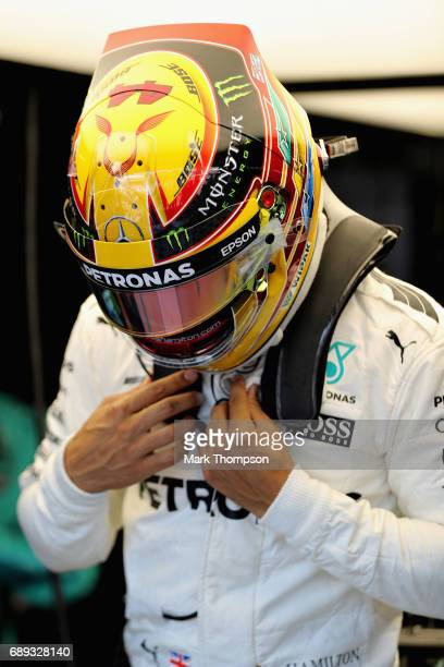 Lewis Hamilton of Great Britain and Mercedes GP prepares to drive during the Monaco Formula One Grand Prix at Circuit de Monaco on May 28 2017 in...