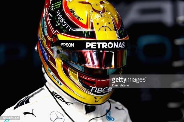 Lewis Hamilton of Great Britain and Mercedes GP prepares to drive during final practice for the Formula One Grand Prix of Belgium at Circuit de...