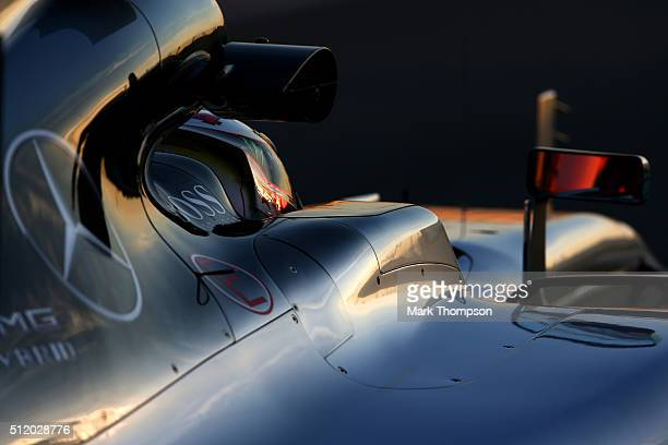 Lewis Hamilton of Great Britain and Mercedes GP prepares to exit the pit lane during day three of F1 winter testing at Circuit de Catalunya on...