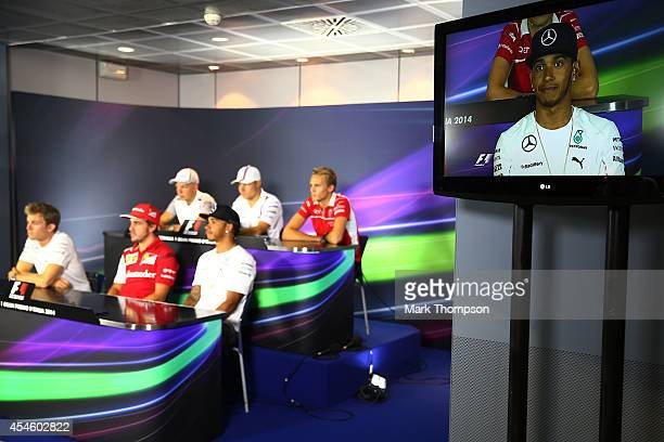 Lewis Hamilton of Great Britain and Mercedes GP speaks at the Drivers Press Conference during Previews ahead of the F1 Grand Prix of Italy at...