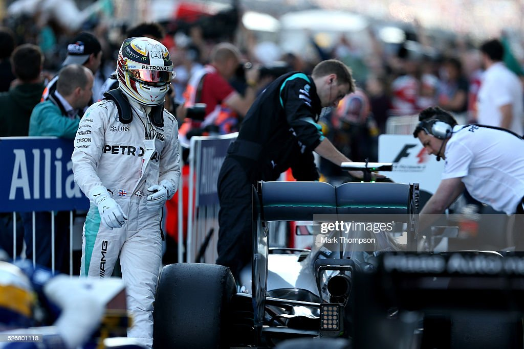 <a gi-track='captionPersonalityLinkClicked' href=/galleries/search?phrase=Lewis+Hamilton&family=editorial&specificpeople=586983 ng-click='$event.stopPropagation()'>Lewis Hamilton</a> of Great Britain and Mercedes GP walks away from his car in parc ferme after finishing second during the Formula One Grand Prix of Russia at Sochi Autodrom on May 1, 2016 in Sochi, Russia.