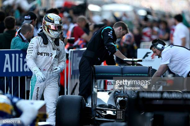 Lewis Hamilton of Great Britain and Mercedes GP walks away from his car in parc ferme after finishing second during the Formula One Grand Prix of...