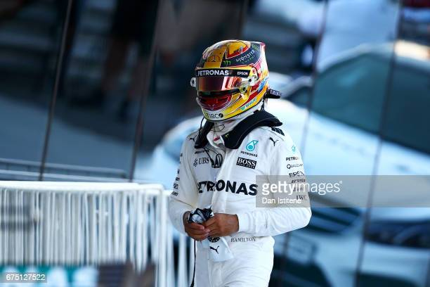 Lewis Hamilton of Great Britain and Mercedes GP walks in Parc Ferme after the Formula One Grand Prix of Russia on April 30 2017 in Sochi Russia