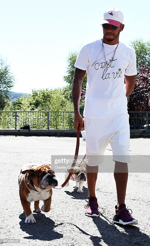 Lewis Hamilton of Great Britain and Mercedes GP walks in the Paddock with his dogs Roscoe and Coco during previews ahead of the Formula One Grand...