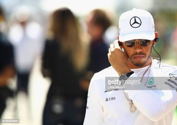 Lewis Hamilton of Great Britain and Mercedes GP walks in the Paddock during the Formula One Grand Prix of Russia on April 30 2017 in Sochi Russia