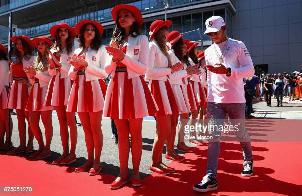 Lewis Hamilton of Great Britain and Mercedes GP walks to the drivers parade before the Formula One Grand Prix of Russia on April 30 2017 in Sochi...