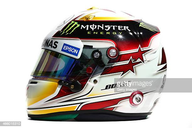 Lewis Hamilton of Great Britain and Mercedes GP's Formula One race helmet on March 12 2015 in Melbourne Australia