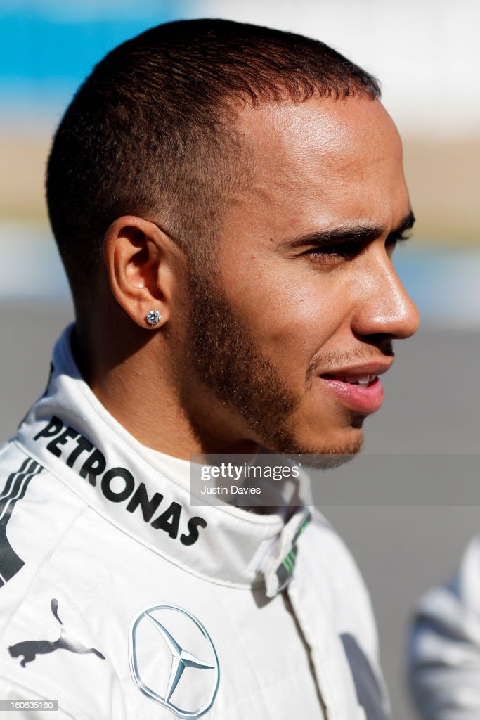 <a gi-track='captionPersonalityLinkClicked' href=/galleries/search?phrase=Lewis+Hamilton&family=editorial&specificpeople=586983 ng-click='$event.stopPropagation()'>Lewis Hamilton</a> of Great Britain and Mercedes looks on during the Mercedes GP F1 W04 Launch at Circuito de Jerez on February 4, 2013 in Jerez de la Frontera, Spain.