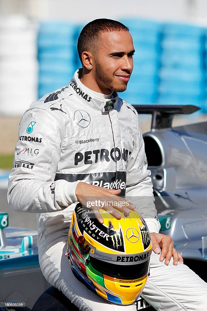 <a gi-track='captionPersonalityLinkClicked' href=/galleries/search?phrase=Lewis+Hamilton&family=editorial&specificpeople=586983 ng-click='$event.stopPropagation()'>Lewis Hamilton</a> of Great Britain and Mercedes poses during the Mercedes GP F1 W04 Launch at Circuito de Jerez on February 4, 2013 in Jerez de la Frontera, Spain.