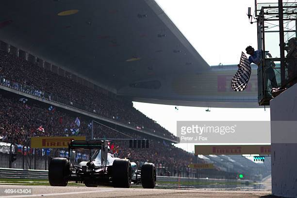 Lewis Hamilton of Great Britain and Mercedes Wins the Formula One Grand Prix of China at Shanghai International Circuit on April 12 2015 in Shanghai...