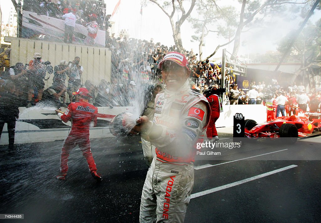 Lewis Hamilton of Great Britain celebrates after finishing second in the Monaco Formula One Grand Prix at the Monte Carlo Circuit on May 27, 2007 in Monte Carlo, Monaco.