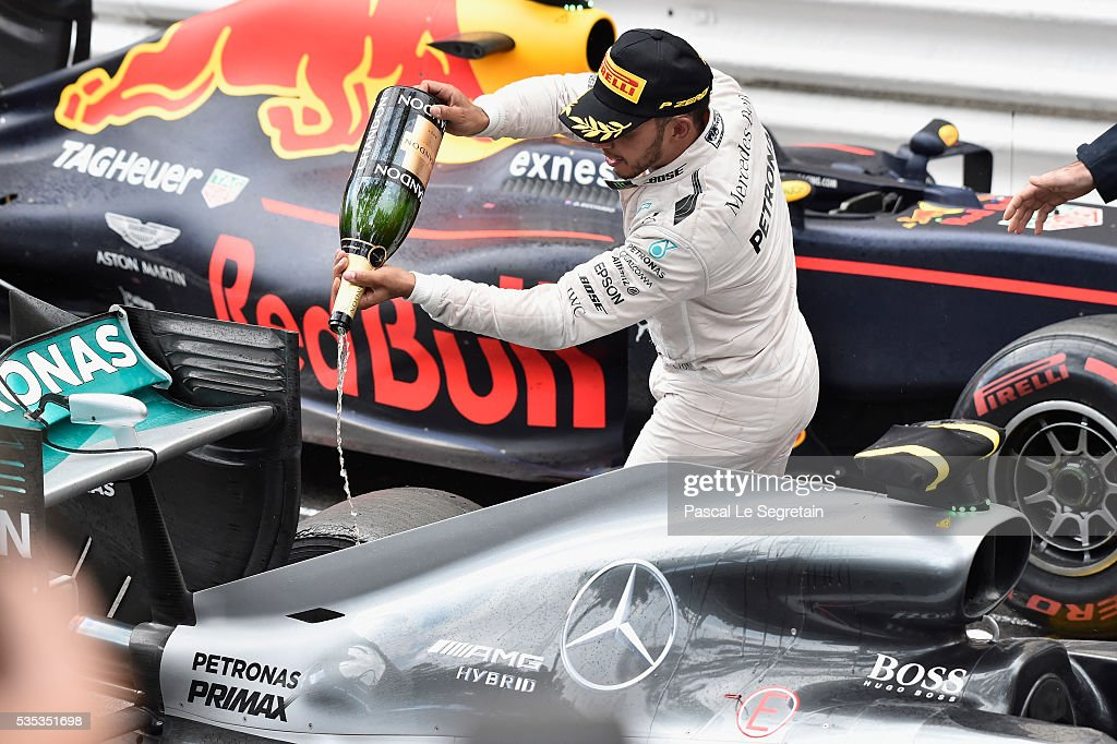<a gi-track='captionPersonalityLinkClicked' href=/galleries/search?phrase=Lewis+Hamilton&family=editorial&specificpeople=586983 ng-click='$event.stopPropagation()'>Lewis Hamilton</a> of Great Britain celebrates his win during the Monaco Formula One Grand Prix at Circuit de Monaco on May 29, 2016 in Monte-Carlo, Monaco.
