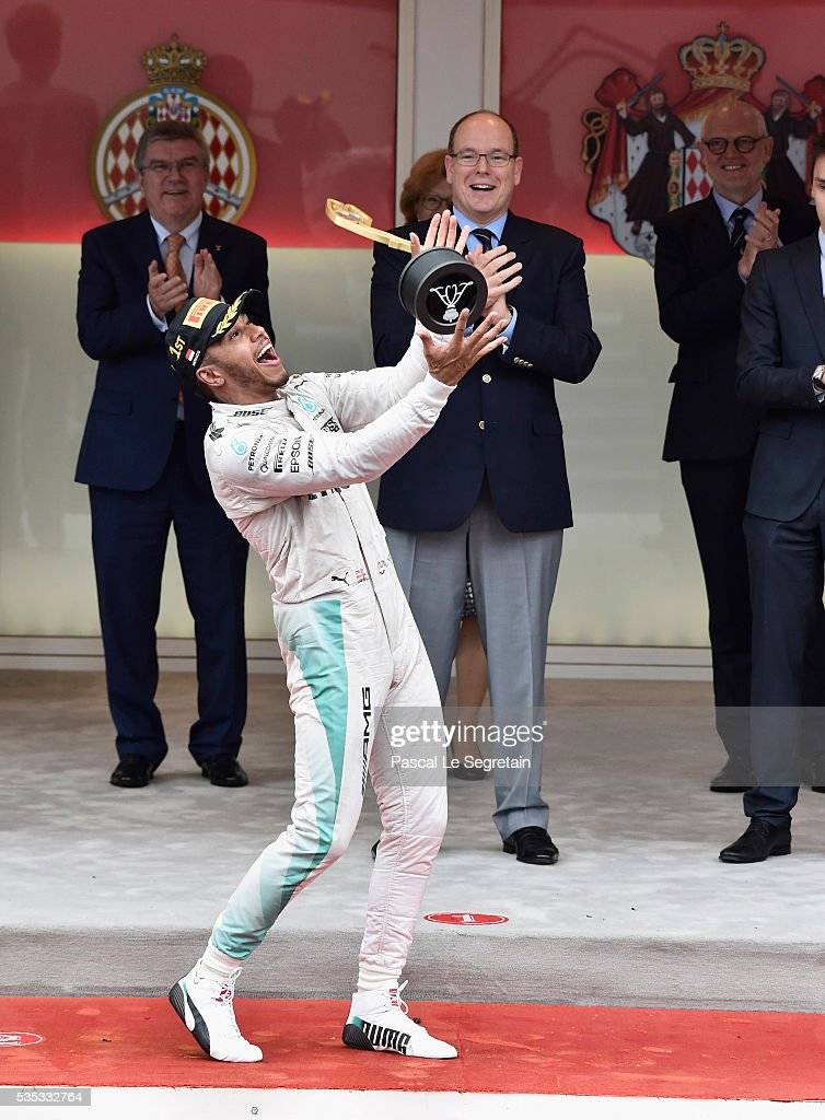 <a gi-track='captionPersonalityLinkClicked' href=/galleries/search?phrase=Lewis+Hamilton+-+Racecar+Driver&family=editorial&specificpeople=586983 ng-click='$event.stopPropagation()'>Lewis Hamilton</a> of Great Britain celebrates on the podium after winning the F1 Grand Prix of Monaco May 29, 2016 in Monte-Carlo, Monaco.