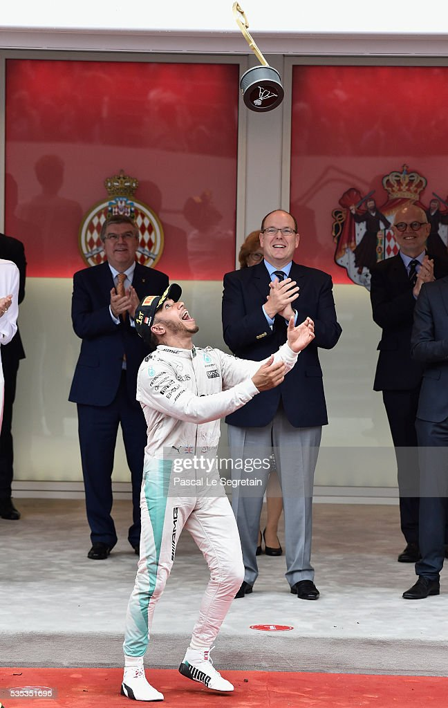 <a gi-track='captionPersonalityLinkClicked' href=/galleries/search?phrase=Lewis+Hamilton&family=editorial&specificpeople=586983 ng-click='$event.stopPropagation()'>Lewis Hamilton</a> of Great Britain celebrates on the podium after winning the F1 Grand Prix of Monaco May 29, 2016 in Monte-Carlo, Monaco.