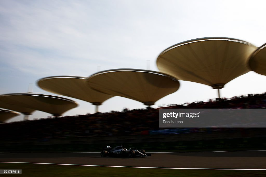 Lewis Hamilton of Great Britain drives the 4 Mercedes AMG Petronas F1 Team Mercedes F1 WO7 Mercedes PU106C Hybrid turbo during the Formula One Grand Prix of China at Shanghai International Circuit on April 17, 2016 in Shanghai, China.