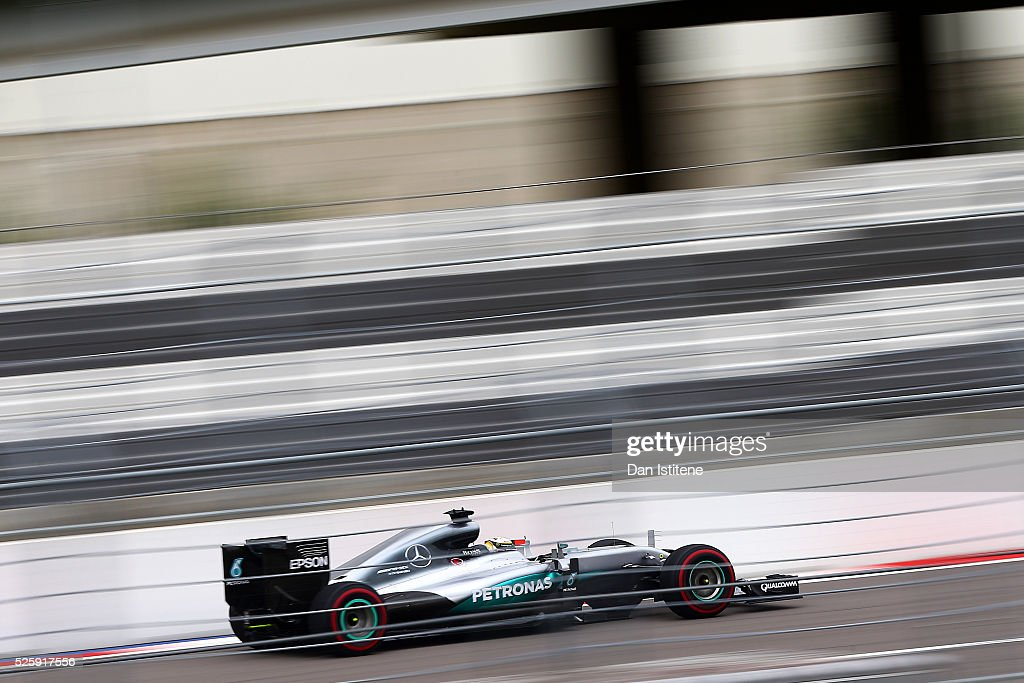 <a gi-track='captionPersonalityLinkClicked' href=/galleries/search?phrase=Lewis+Hamilton&family=editorial&specificpeople=586983 ng-click='$event.stopPropagation()'>Lewis Hamilton</a> of Great Britain drives the 4 Mercedes AMG Petronas F1 Team Mercedes F1 WO7 Mercedes PU106C Hybrid turbo during practice for the Formula One Grand Prix of Russia at Sochi Autodrom on April 29, 2016 in Sochi, Russia.