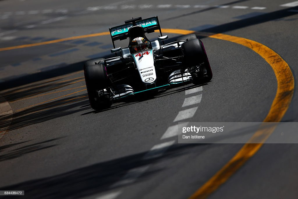 Lewis Hamilton of Great Britain drives the 4 Mercedes AMG Petronas F1 Team Mercedes F1 WO7 Mercedes PU106C Hybrid turbo during practice for the...