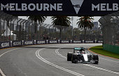 Lewis Hamilton of Great Britain drives the Mercedes AMG Petronas F1 Team Mercedes F1 WO7 Mercedes PU106C Hybrid turbo on track during qualifying for...