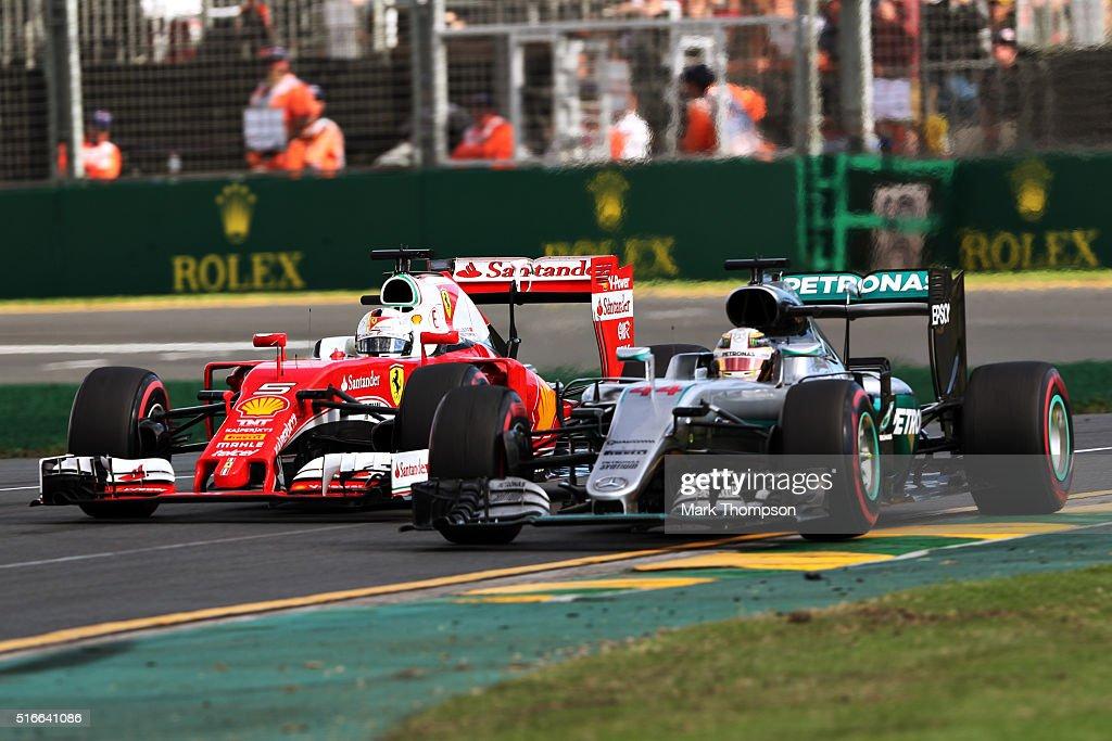 Lewis Hamilton of Great Britain drives the Mercedes AMG Petronas F1 Team Mercedes F1 WO7 Mercedes PU106C Hybrid turbo gets overtaken by Sebastian...