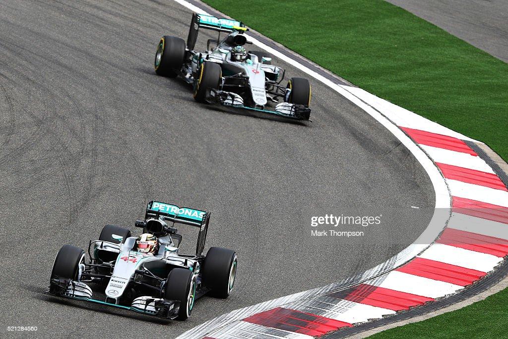 Lewis Hamilton of Great Britain driving the Mercedes AMG Petronas F1 Team Mercedes F1 WO7 Mercedes PU106C Hybrid turbo on track ahead of Nico Rosberg...